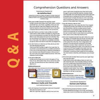 SL - Greek Myths and Stories - FREE Comprehension Questions and Answers