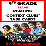 """4th Grade STAAR Reading Context Clues, 40 """"Short Passages"""" Task Cards"""