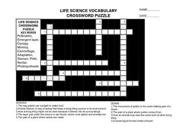 4TH GRADE LIFE SCIENCE VOCAB CROSSWORD PUZZLE