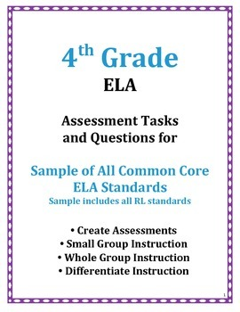 4TH Grade ELA Common Core Assessment Questions and Tasks FREE SAMPLE