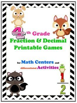 4TH Grade Fraction & Decimal Printable Games