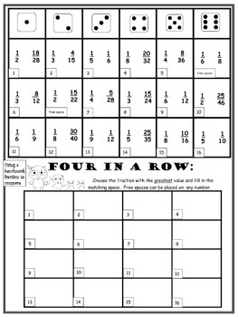 4TH Grade Fraction & Decimal Printable Games