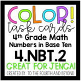 4th Grade Math 4.NBT.A.2 COLOR! Number Forms/Comparing Numbers Jenga Task Cards