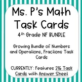 4TH Grade Numbers and Operations, Fractions Task Cards - A