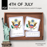 4TH OF JULY Montessori Nomenclature 3-Part Cards