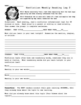 4TH OR 5TH Grade Reading Logs Collection for Common Core Homework All Standards