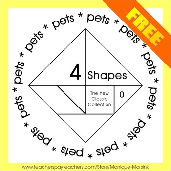 Tangram: 4 Shapes - The new Classic Collection - Math Mats - Freebie
