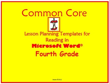 4h Grade Commo Core Lesson Planning Templates in Microsoft Word