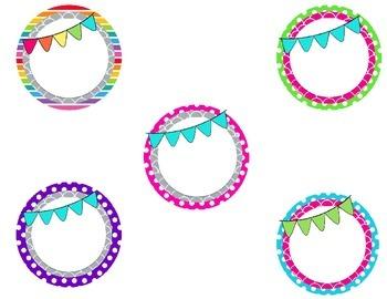 4in circular editable labels polka dot,scallop,bunting big lots bin white versio