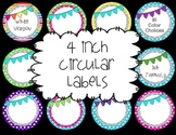 4in circular editable labels polka dot,scallop,bunting big