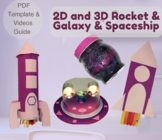 4in1, 2D and 3D Shapes Rocket Template,Galaxy and Spaceship,Template,Video Guide