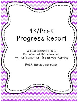 4k.Pre K Progress Report