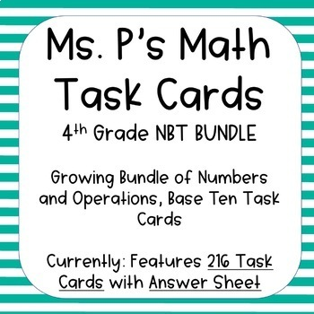 4th Grade Numbers and Operation Base Ten Task Cards - ALL Standards