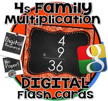 4s Facts - DIGITAL (Google) Multiplication Flash Cards -4's Family