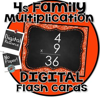 4s Facts - DIGITAL (PowerPoint) Multiplication Flash Cards -4's Family