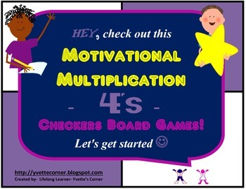 "4's Multiplication Checkers Games w/Quizzes etc. and ""Scaffolding Support"""