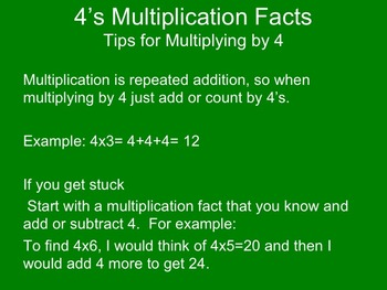 4's Multiplication Facts Powerpoint with study tips