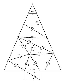 4s and 5s Multiplication Fact Christmas Tree Puzzle