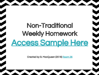 4th, 5th, 6th Grade Non-Traditional Weekly Homework Sample (Google Drive)