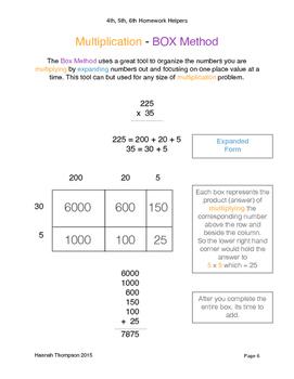 4th, 5th, 6th Math Helpers - Multiplication
