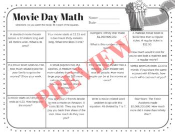 4th 5th 6th Movie Day Math-- No Prep