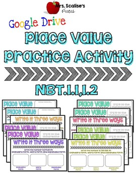 4th/5th Digital Place Value Practice Activity NBT 1.1,1.2-  for Google Drive