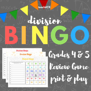 4th/5th Division Bingo-- B/W and Color-- Math Game