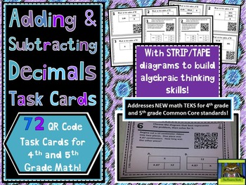 Add, Subtract Decimals QR Task Cards with Strip / Tape Diagrams (NEW Math TEKS!)