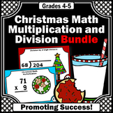 4th 5th Grade Christmas Math Centers, Multiplication and Division Task Cards