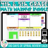 4th & 5th Grade Digital Math Warm Ups Bundle | Google™ Sli
