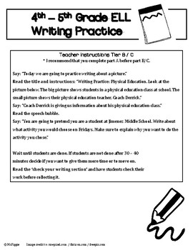 4th - 5th Grade ELL ACCESS Writing Practice