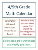 4th/5th Grade Math Calendar (10 Months)