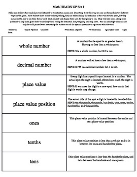 Math Common Core Vocabulary Cards Sets 1-4 (Grades 4-6)