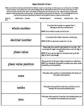 Math Common Core Vocabulary Cards Sets 1-4 (Grades 4-6)