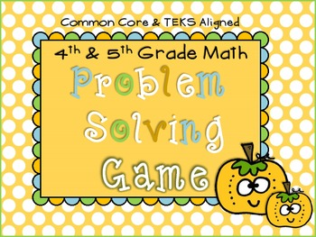 4th Grade Review Math Game (Problem Solving) TEKS and CCSS Aligned