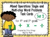 4th 5th Grade Mixed Operations Single & Multi-Step Word Problems Task Cards Set2