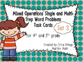 4th 5th Grade Mixed Operations Single & Multi-Step Word Problems Task Cards Set3