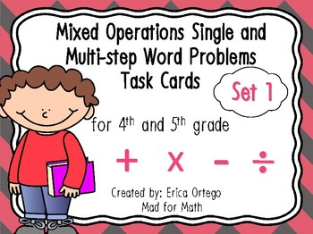 4th 5th Grade Mixed Operations Single & Multi-Step Word Problems Task Cards Set1