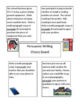 4th 5th 6th 7th 8th Grade: Persuasive Opinion Writing Choice Board Center