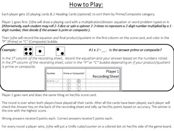 4th-5th Grade Prime & Composite Numbers Game {Editable}