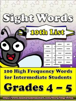 4th - 5th Grade Sight Word List #10 - Tenth 100 High Frequency Words -Word Study