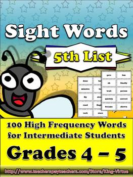 4th - 5th Grade Sight Word List #5 - Fifth 100 High Frequency Words - Word Study