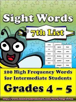 4th - 5th Grade Sight Word List #7 - Seventh 100 High Frequency Words