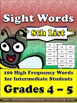 4th - 5th Grade Sight Word List #8 - Eighth 100 High Frequ