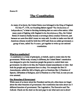 4th/5th Grade Text-Based Writing: Branches of Government (Informative) FSA