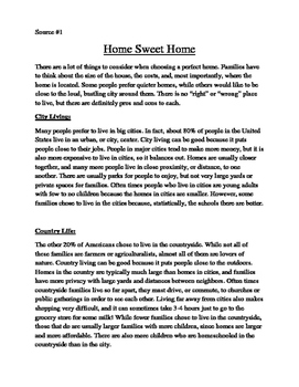 4th/5th Grade Text-Based Writing: Countryside or City Life? (Opinion) FSA