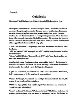4th/5th Grade Text-Based Writing: Goldilocks, Friend or Foe (Opinion) FSA