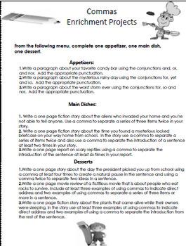 Commas Interactive Notebook, Lessons, Activities, Enrichment Project Menu