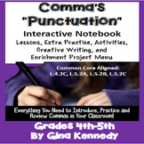 Commas Interactive Notebook, Lessons, Activities, Enrichment Project Menu