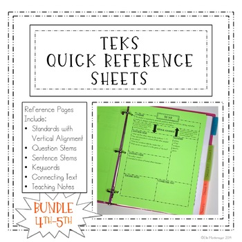 4th & 5th BUNDLE TEKS Quick Reference Sheets